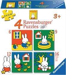 Ravensburger vier nijntje puzzels - 6+9+12+16 stukjes - kinderpuzzel