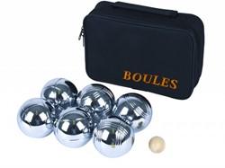 Angel Sports Jeu de Boules ballen 6 stuks in zwarte tas met rits