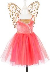 Souza Laurella jurk + vleugels, koraal roze, 5-7 jaar/ 110-122 cm (1 set)