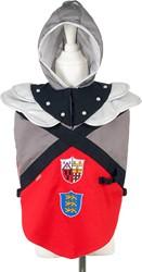 Souza Edmund ridder tuniek, rood-grijs-zwart, 5-7 jaar/ 110-116 cm (1 stuk)