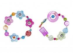 Souza Armband Suze, volledig elastisch, roze/blauw+paars/groen (3+3 stuks)