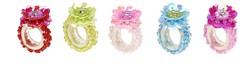 Souza Ring Jessy, fuchsia+roze+aqua+rood+groen (8+8+3+3+2 stuks)