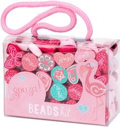 Souza Kralen activity kit, rose-fuchsia-mint (4 boxes)
