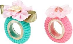 Souza Haarelastiek Florie, bloemen licht roze-mint (2 stuks/ kaartje)