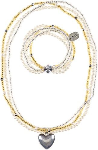 Souza Ketting + armband Liv, hartje goud-zilver (1 set)