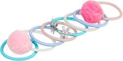 Souza Haar elastiek Zenzy, met pompoms l. blauw-l. roze (8 stuks/ kaartje)