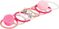 Souza Haar elastiek Zenzy, met pompoms roze-l. roze (8 stuks/kaartje)