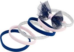 Souza Haar elastiek Lana, met strik zilver-roze-marine blauw (6 stuks/kaartje)
