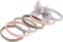 Souza Haar elastiek Lana, met strik zilver-roze-zand (6 stuks/ kaartje)