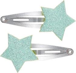 Souza Haar clip Jasmine, with star mint green-metallic silver (2 stuks/ kaartje)