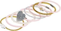 Souza Haar elastiek Laira, l roze-zilver-goud (8 stuks/kaartje)