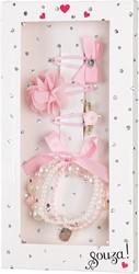 Souza Cadeauverpakking armband + 3 haar clipjes roze in display