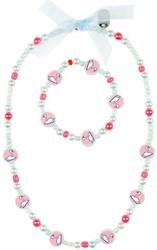 Souza Ketting + armband set Swans, l.blauw-roze (1 set)