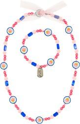 Souza Ketting + armband Malene visjes, blauw-geel (1 set)
