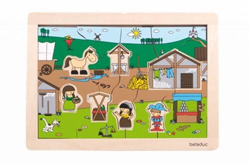 Beleduc  houten lagenpuzzel Rollenspel Markt-2