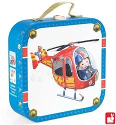 Janod  legpuzzel Koffer Pier's helicopter - 6, 9, 12 en 14 stukjes