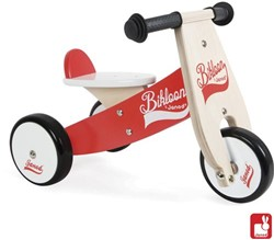 Janod houten loopfiets Bikloon klein rood/wit