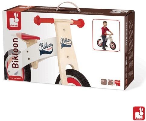 Janod  houten loopfiets Bikloon rood/wit-2