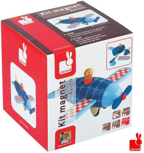 Janod  houten leerspel Magneetset vliegtuig-2