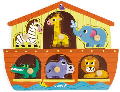 Janod houten knoppuzzel De ark van Noach - 6 stukjes