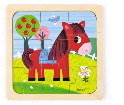 Janod houten puzzel Tornado Het Paard - 9 stukjes