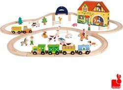Janod  Story houten trein set Express de boerderij en rails