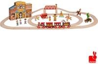 Janod  Story houten trein set Express het wilde westen en rails