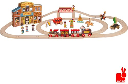 Janod  Story houten trein set Express het wilde westen en rails-1