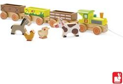 Janod houten trekfiguur Trein boerderij