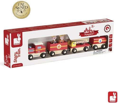 Janod Story houten trein Brandweer-3