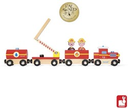 Janod  Story houten trein Brandweer
