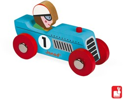 Janod Story Racing - retromotor (3 blauw en 3 zilver)