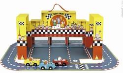 Janod Story houten speelstad set Draagbare racebaan F1