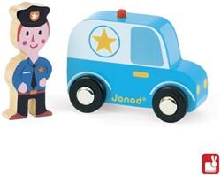 Janod Story houten speelstad voertuig set Politieauto en agent