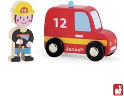 Janod Story houten speelstad voertuig set Brandweer