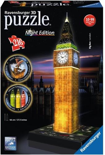 Ravensburger Big Ben Night Edition - 3D puzzel gebouw - 216 stukjes
