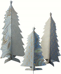Maileg 3 Paper Christmastrees, set, Christmas Blue