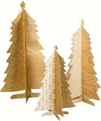 Maileg 3 Paper Christmastrees, set, Christmas Gold