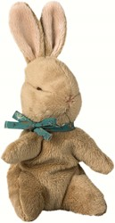 Maileg Baby Bunny, Brown w. blue ribbon