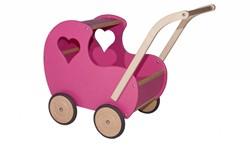 Van Dijk Toys  houten poppenmeubel Poppenwagen roze met open hart