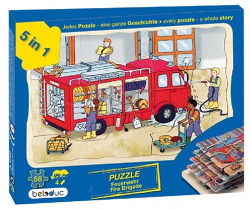 Beleduc  houten lagenpuzzel Brandweer-2