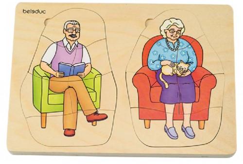 Beleduc  houten lagenpuzzel Opa en Oma