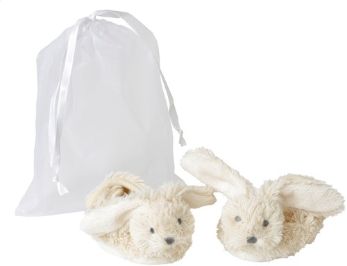 Happy Horse Ivory Rabbit Richie Slippers in organza bag