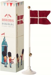 Maileg Danish flag, metal flagpole  25,5 CM