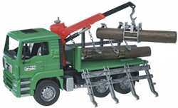 Bruder  - MAN Timber truck with loading crane and 3 trunks