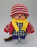 Monchhichi  knuffelpop kleren Boutique B Fleecejack rood met winterse accessoires-3