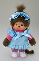 Monchhichi  knuffelpop kleren Boutique A blauwe jurk en roze shirt-3