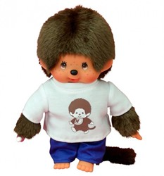 Monchhichi  knuffelpop Jongen met T-shirt Wit - 20 cm