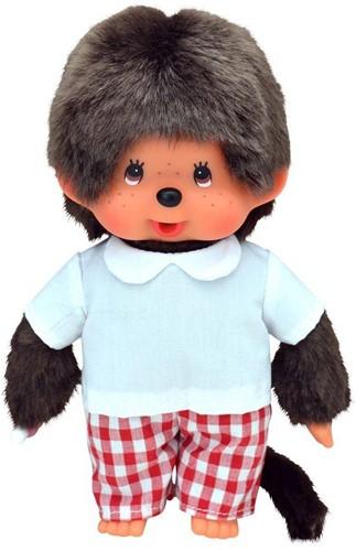 Monchhichi  knuffelpop Jongen Rood geruite broek - 20 cm-1
