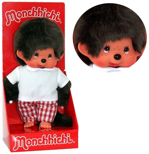 Monchhichi  knuffelpop Jongen Rood geruite broek - 20 cm-2